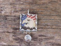 Patriotic Bald Eagle Vintage Flag 1 Inch by MablesGranddaughter, $15.00