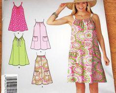 Simplicity 2203 Drawstring Neckline Dress Caftan Sundress Women's Easy Sewing Pattern Bust 32.5 34 36 38 40 42 Plus Sizes Uncut Factory Fold