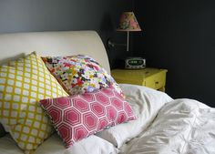 lovely bed cushions by NinaRibena, in  Kat Phillips Design + The B Line fabrics on Spoonflower