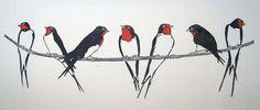 Swallows Handmade Linocut Bird Artwork