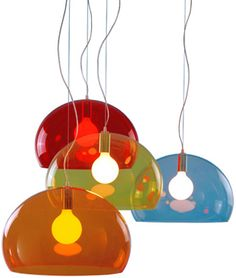 fl/y  Design Ferruccio Laviani, 2002  Transparent Methacrylate  Made in Italy by Kartell    Light, color and transparency. You look, you admire, and then your face lights up with a smile. The new FL/Y hanging lamps are a luminous surprise, like light and airy soap bubbles, iridescent with the reflections of the light. Made in transparent methacrylate in a variety of vibrant colors. They are packaged singly, but can also live in compositions that enhance the delicate variation of color.
