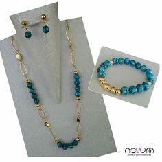 $65 set collar, aretes y pulsera. confeccionado en piedra natural
