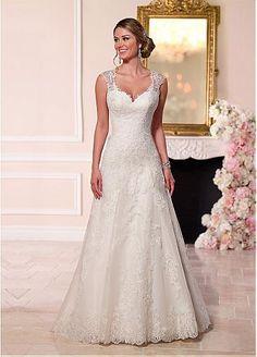 Fabuloso tul con cuello en V vestidos de escote una línea de novia con apliques de encaje