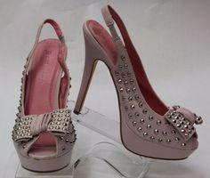 JUST FABULOUS Pink w/ Bow & Silver Studs Open Toe Heel Slingbacks SZ 8 460078.1 #JustFabulous #Stilettos #Clubwear
