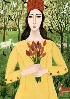 'Girl With Tulips' by Painter Dee Nickerson. Blank Art Card by Green Pebble. www.greenpebble.co.uk