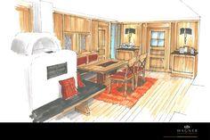 Wohn- & Esszimmer im alpenländlichen Stil mit Rahmen und Füllungen in den Holzwänden Jukebox, Modern, Neuschwanstein Castle, Wood Walls, Living Dining Rooms, Frame, Interior, Trendy Tree
