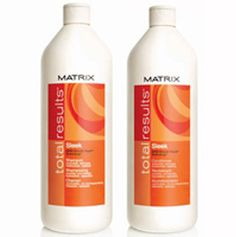 matrix sleek lisse shampoo and conditioner. My hair is very picky when it comes to products but this one works for me!