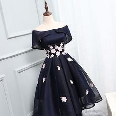 Stylish A line high low off shoulder short prom dress, homecoming dress