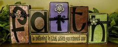 Handmade wood blocks with embellishments. 2x4 Crafts, Wood Block Crafts, Scrap Wood Projects, Wooden Crafts, Vinyl Projects, Wood Blocks, Faith Crafts, Bible School Crafts, Wood Scraps