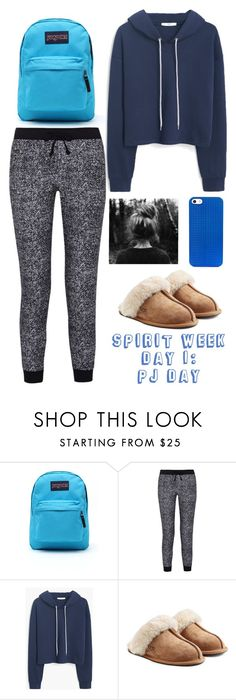 """Spirit week day 1: PJ Day"" by megan-walz21 ❤ liked on Polyvore featuring JanSport, Splendid, MANGO, UGG Australia and BaubleBar"
