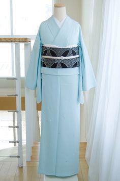 正絹スタイリッシュ・フォーマルきもの【渦巻き刺繍のはんなりカラー付下げ/ライトブルー】