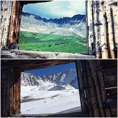 Mayflower Gulch hiking trail- summer season in top photo and winter season in bottom photo