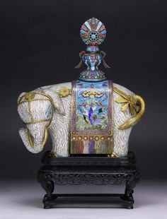 Of Mid-QING Dynasty 18TH CENTURY; A RARE CLOISONNE ENAMEL ELEPHANT, 18TH/19TH CENTURY : Lot 262