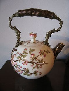 Vintage Antique Likely English Porcelain Teapot Brass Dolphin Handle Decoration