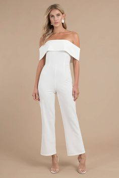 The Say No More White Jumpsuit designed by Tobi features an off the shoulder neckline with a cold shoulder, fitted waist, and wide legs on a stretchy White Jumpsuit, Jumpsuit Dress, Provonias Wedding Dress, Wedding Dresses, Wedding Jumpsuit, Designer Jumpsuits, Plus Size Girls, Bridal Outfits, Blonde Balayage