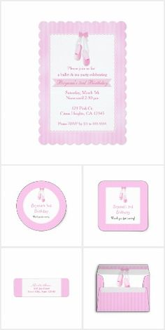 Ballerina Slippers Pink Birthday Party Invitations