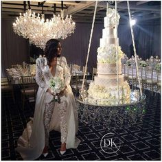 Wow oh wow - what a wedding created/styled by @dianekhouryweddingsandevents  we loved designing and creating this magical cake to hang on @chandelierstodiefor custom swing... *dress by @leahdagloria *flowers by @crazyaboutflowers