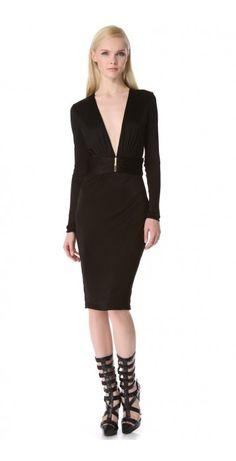 Versace Deep V Dress with Long Sleeves Girl Fashion, Fashion Outfits, Fashion Design, Fashion Clothes, Peplum Dress, Dress Up, Deep V Dress, Versace Dress, Little White Dresses