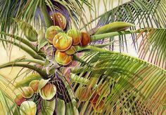 coconut palm tree, lizard