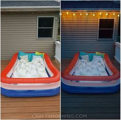 If you have an inflatable pool, take it out and fill it with the comfiest blankets and pillows you own! It is the perfect activity for night time to look up at the stars. Great for date nights or just hanging with the kids. With summer approaching, it sure is cheap entertainment! T_Bagg on …