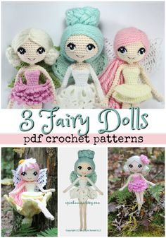 3-pack of crochet patterns for these beautiful amigurumi fairy dolls! What a lovely handmade toy! They'd be perfect in my ideal little indoor fairy garden! #etsy #ad #crochet #amigurumi #pattern #fairies