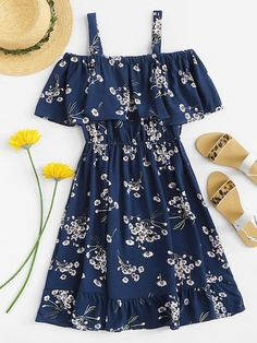 ROMWE offers Cold Shoulder Floral Print Tiered Dress & more to fit your fashionable needs. Source by - Cute Casual Outfits, Cute Summer Outfits, Pretty Outfits, Pretty Dresses, Stylish Outfits, Casual Dresses, Dresses Dresses, Summer Dresses For Women, Girls Fashion Clothes