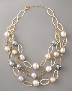 Majorica Multi-Strand Baroque Pearl Necklace