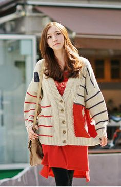 Fashionable Stripes V-neck Button Down Women Cardigan Sweater - BuyTrends.com