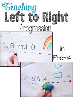 Teach Left to Right Progression in Pre-K: Great ideas here! #kinderchat