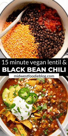 I'm here to let you in on a little secret…healthy food can also be hearty and satisfying! TRY THIS VEGAN BLACK BEAN CHILI! It's loaded with over of your daily fiber in each servi Tasty Vegetarian Recipes, Vegan Dinner Recipes, Easy Lentil Recipes, Black Bean Chili Recipe Vegetarian, Vegan Recipes With Black Beans, Vegan Recipes With Sweet Potatoes, Recipes With Quinoa, Lentil Meals, Vegan Chilli Recipe