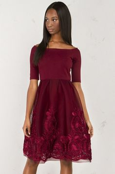 front view Off The Shoulder Dress With Netted Skirt in Burgundy