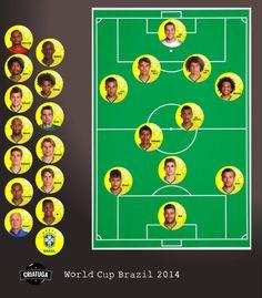 Brazil World Cup 2014  Hommage Football Fridge Magnet Set