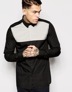 ASOS Shirt In Long Sleeve Shirt With Contrast Panel