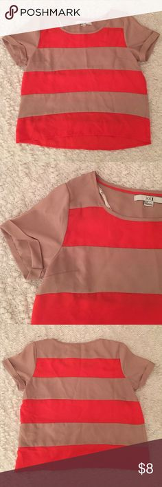 NWOT Striped S/s top NWOT never worn and Great condition. Cute tan and red thick striped top with cute cuffed sleeve detail. Loose fitting S.  Would be super cute with high waisted jeans!    💥Bundle to save 20%💥 Forever 21 Tops Tees - Short Sleeve
