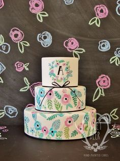 Pretty Hand Painted Flowers Tiered Cake
