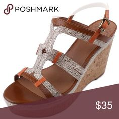 5ae862e57d1f Lucky Brand Keena Womens Wedges Size 10 Leather Upper Straps Adjustable  buckle closure Man-made