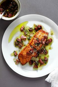 Salmon with Ham Hock Vinaigrette!  Can't wait to try this one!  How about you? Yummy!