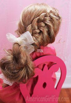 """American Girl 18"""" Doll princess hair braid hair style."""