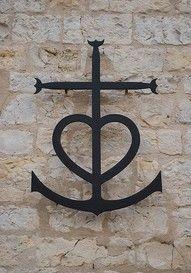 anchor heart cross tattoo...faith hope and love all in one!