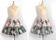 vintage 1950s skirt / novelty forest printed full circle swing skirt $128