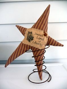 Primitive Star nodder make do vintage ticking fabric Bed Spring Crafts, Spring Projects, Fall Crafts, Crafts To Make, Christmas Crafts, Arts And Crafts, Diy Crafts, Spring Art, Americana Crafts