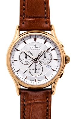 luxury Swiss Made wrist watches on the official Charmex of Switzerland™ website Stainless Steel Case, Chronograph, Switzerland, Brown Leather, Sapphire, Quartz, Butterfly, Rose Gold, Jewels