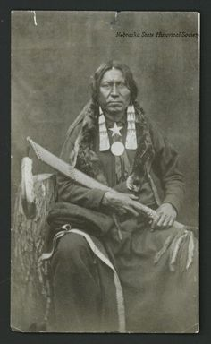 Studio Portrait of White Thunder, a Brule Sioux Native American. Date 1880 circa
