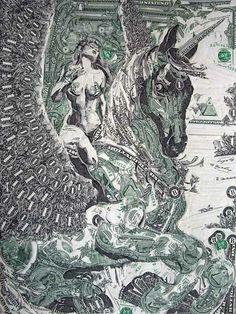 Dollar bill art by Mark Wagner
