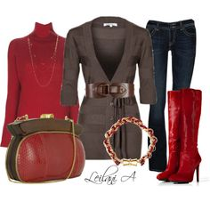 """Red and brown outfit"" by leilani-almazan on Polyvore"