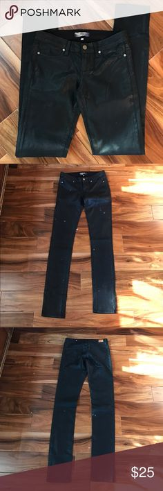 "Paige black ""Peg Skinny"" jeggings 98% cotton 2% elastane dry clean only. Jeans have faux Front pockets. Photo 7   Color is the shining/glossy black.  Flat waist is 16"". Front rise 7 1/2"". Inseam is 34"".   Jeggings how are skinny leg. Also in good condition no rips's and all stitching appears to be intact. One tiny spot on the front of right leg. See photo 8. Joe's Jeans Jeans Skinny"