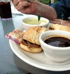 Beef Dip Sandwich and Cream of Spinach Soup