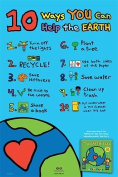 Help the earth!! A great visual for your classroom for Earth Day!