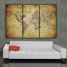 Magnificent huge map world 1800 111 x 74 280 x190cm canvas three panel vintage world map art gallery wrapped canvas makes a beautiful statement on any gumiabroncs Image collections