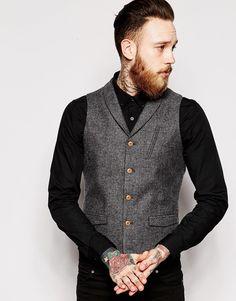 59b0e0485c9 Shop ASOS Slim Fit Waistcoat In Herringbone With Shawl Collar at ASOS.